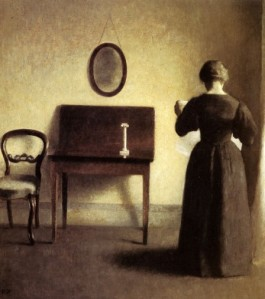 Vilhelm Hammershoi - A Lady Reading In An interior
