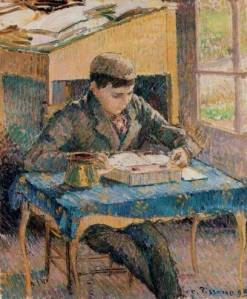 Camille-Pissarro-Portrait-of-Rodo-Pissarro-Reading-the-Artist-s-Son-1-Oil-Painting