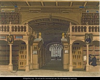 Interior of the Bodleian Library, Joseph Constantine Stadler ,  1813